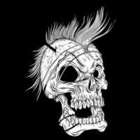 Schädel mit Mohawk und offenem Mund vektor