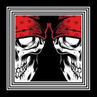 dubbel skalle som bär röda bandanor vektor