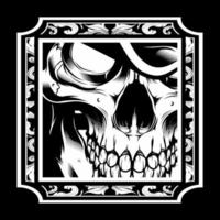 Retro-Skelett schwarz und weiß vektor