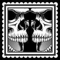 två dödskallar med öppna munnar vektor