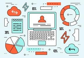 Kostenlose Linear Web Cloud Design Vektor
