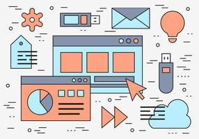 Kostenlose Linear Web Vorlage Icon Vektor Hintergrund