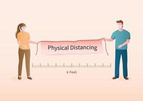maskierter Mann und Frau, die physisches Distanzierungsbanner halten