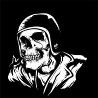 skelett bär retro hjälm vektor