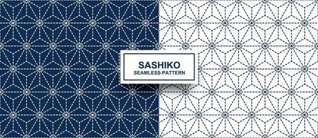 geometriska stjärnform sashiko sömlösa mönster vektor