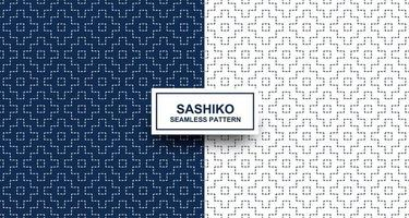 nahtloses Muster aus Indigo und weißem Sashiko vektor