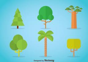 Tree Flat Ikoner Vector