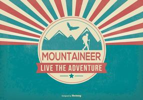 Retro Style Mountain Mountaineer Illustration