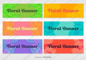 Blommig banderoller vektor uppsättning