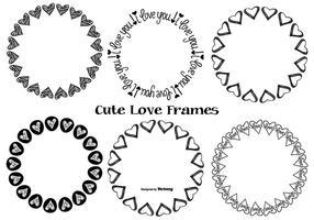 Söt handdragen kärleksramar vektor