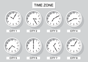 Gratis Time Zone Clock Vector