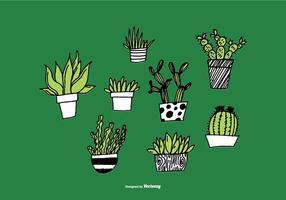 Handdragen Suckulenta Plantervektorer vektor