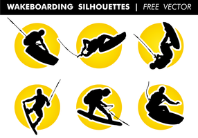 Wakeboarding silhuetter fri vektor