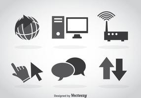 Internet grå ikoner vektor