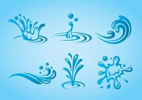 Splash vatten ikoner vektor