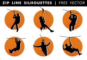 Zip linje silhuetter fri vektor
