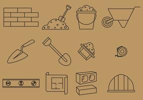 Bricklayer line icons vektor