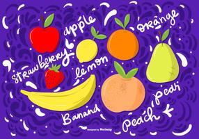 Vektor Hand Drawn Frukt Illustrationer