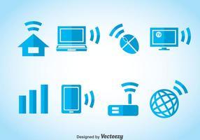Blå ikoner för Internet Element vektor