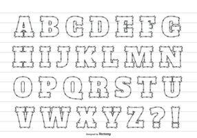 Söt Sketchy Stil Alfabet Set vektor