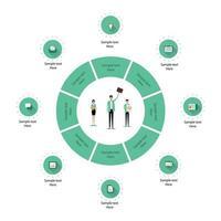 Geschäftsinfografik von Kreis und Geschäftsteam vektor