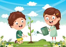 Kinder pflanzen Design vektor
