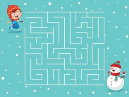 barn vinter labyrint spel vektor