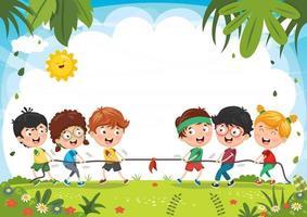 Kinder spielen Seil ziehen vektor