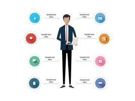 Geschäftsinfografik Anatomie des Geschäftsmannes vektor