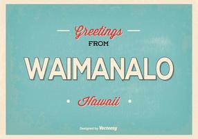 Waimanalo Hawaii Retro Gruß Illustration