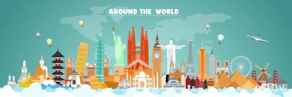 Reise um die Welt wichtige Wahrzeichen Poster vektor