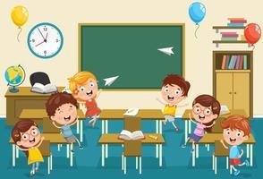 barnklassrum med barn som leker vektor