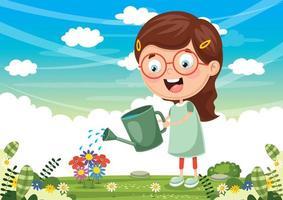 flicka vattna blommor vektor