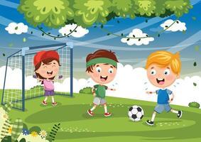 barn som spelar fotboll med mål vektor