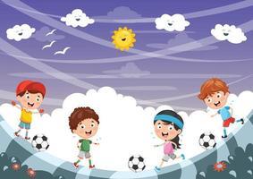 barn som spelar fotboll utanför vektor