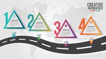 världskartainfografik med fyra färgglada triangelsteg
