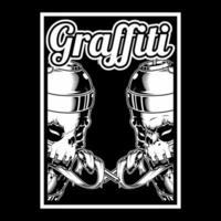 Schädel sprühen Farbdosen und Graffiti-Text vektor