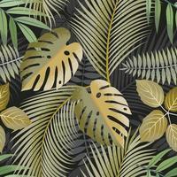 grön tonade tropiska blad sömlösa mönster