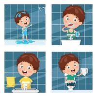 Satz Jungen, die baden und Zähne putzen