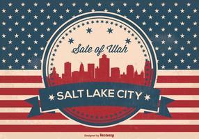 Retro Salz See Stadt Skyline Illustration