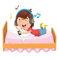 tjej lyssnar på musik vektor