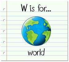 flashcard bokstav w är för världen