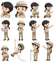 uppsättning tjej i safari outfit vektor