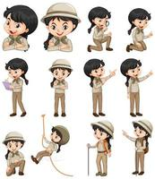Satz Mädchen im Safari-Outfit vektor
