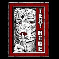 Grunge tätowierte Frau Gesicht und Finger zu den Lippen vektor