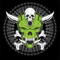 grüner Schädelkopf mit Hörnern und gekreuzten Knochen vektor