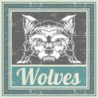 Wolfskopf im Grunge-Stil im blauen Rahmen