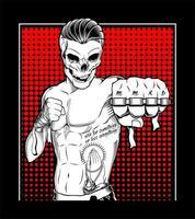 tätowierter Muay Thai Schädelkämpfer mit Knöcheln