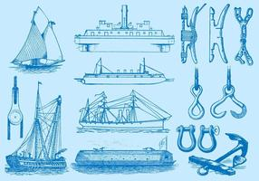 Fartyg och navigeringsobjekt vektor