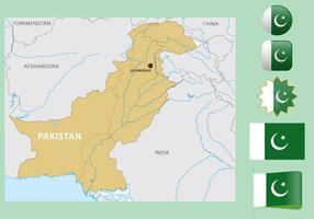 Pakistan Karte Und Flaggen vektor